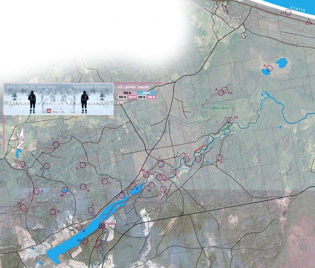 Smārdes Ziemas rogaininga karte. Uzklik;s;ķinot uz bildes tā atvērsies lielāka un būs saglabājama distances ceļa uzlikšanai